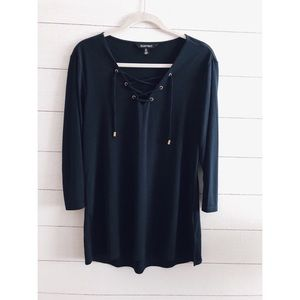 Ellen Tracy | Navy Blue Lace Up Silky Knit Top